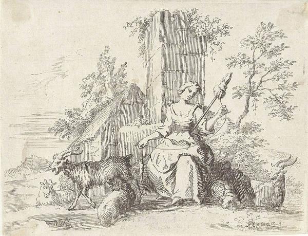 Herd Drawing - Spinning Shepherdess, Paul Van Somer II by Paul Van Somer (ii)