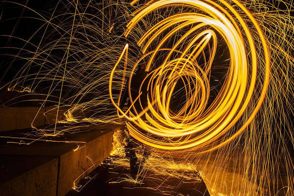 Photograph - Spinning Sparking Light Painting by Sven Brogren