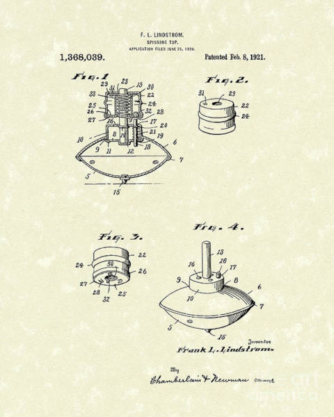 Drawing - Spinning Top 1921 Patent Art by Prior Art Design