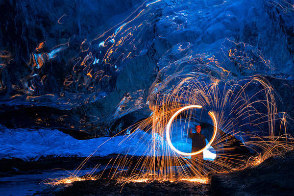 Steel Wool Photograph - Spinning Wool Under The Glacier by Mike Berenson