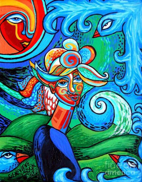 Fauve Painting - Spiral Bird Lady by Genevieve Esson