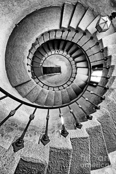 Photograph - Spiral Castle Stairs In Bw by Paul W Faust -  Impressions of Light