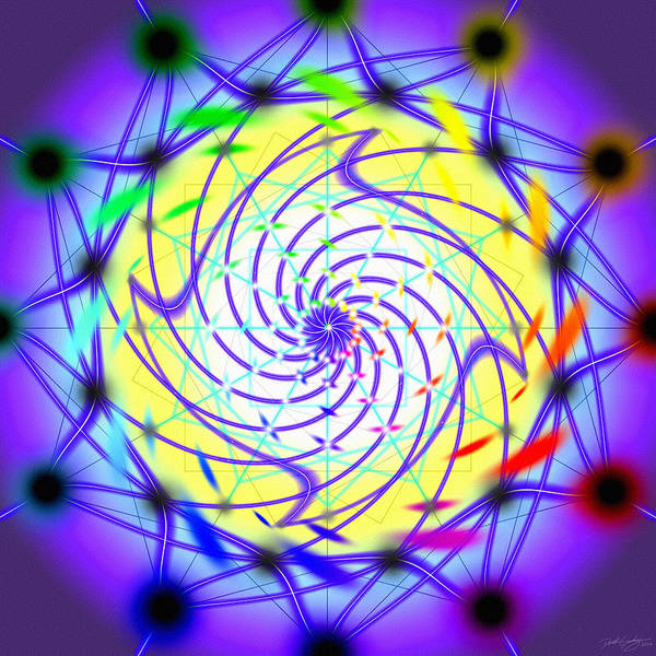 Digital Art - Spiral Light Hexagon by Derek Gedney