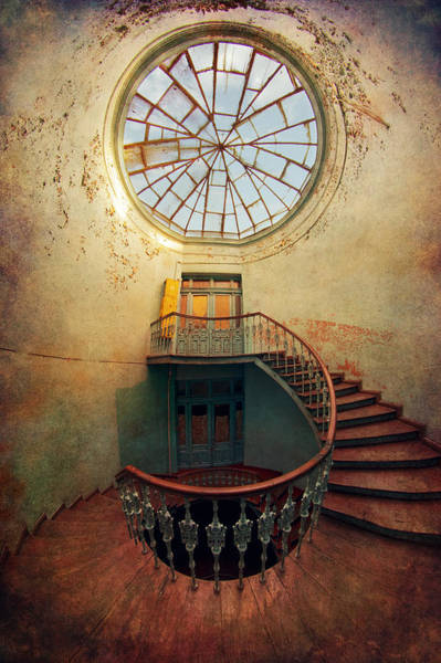 Wall Art - Photograph - Spiral Staircase And Big Round Window by Jaroslaw Blaminsky