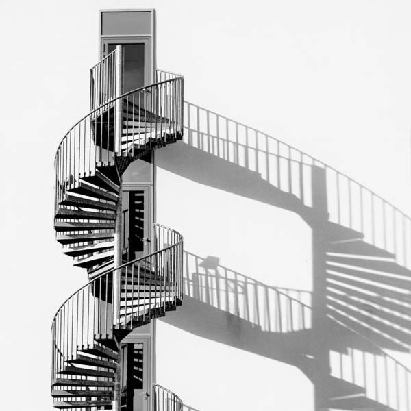 Wall Art - Photograph - Spiral Staircase With Shadow by Rainer Czerwonka