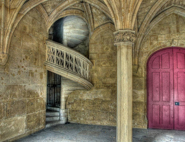 Photograph - Spiral Stairway And Red Door by Michael Kirk
