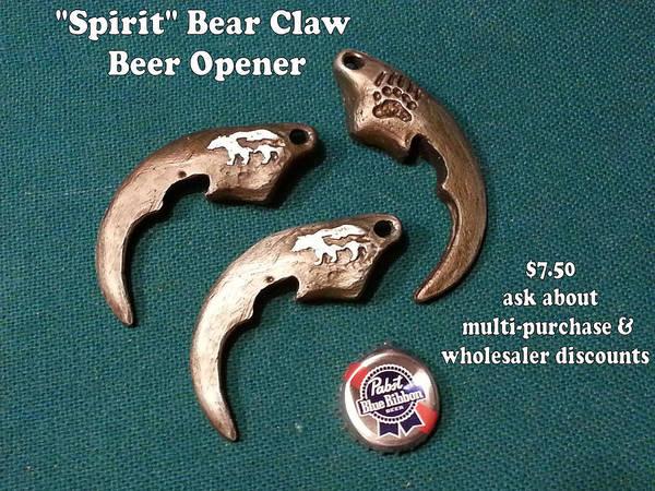 Sculpture - Spirit Bear Bottle Opener by Tim  Joyner