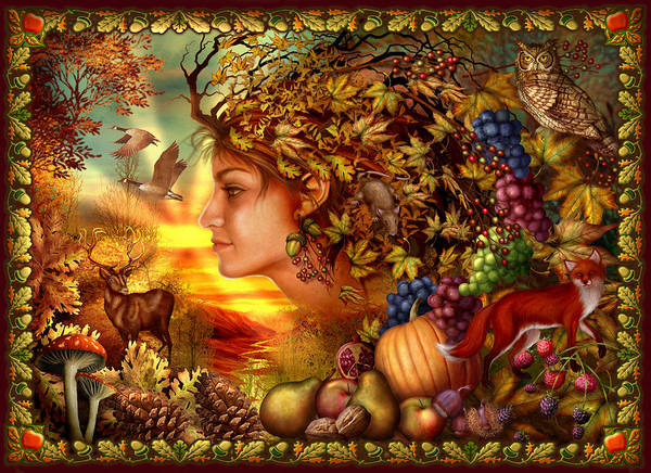 Foxes Digital Art - Spirit Of Autumn by MGL Meiklejohn Graphics Licensing