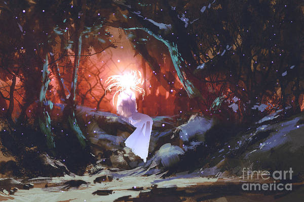 Scene Digital Art - Spirit Of The Enchanted Forest,woman In by Tithi Luadthong