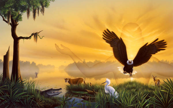 Egrets Wall Art - Painting - Spirit Of The Everglades by Jerry LoFaro