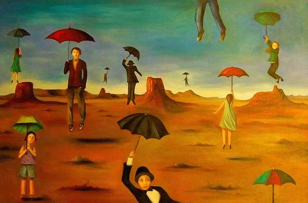Wall Art - Painting - Spirit Of The Flying Umbrellas Edit 1 by Leah Saulnier The Painting Maniac