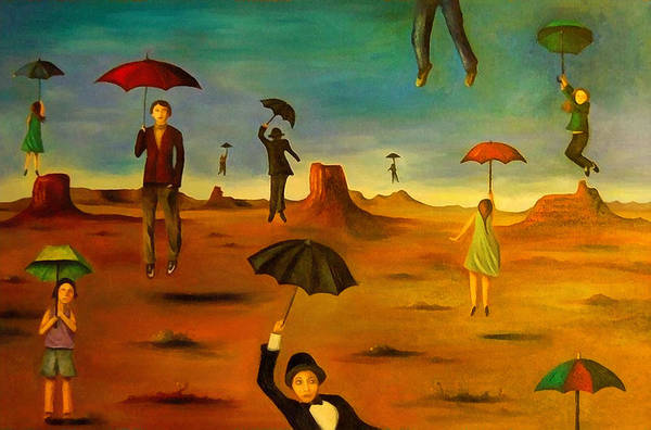 Wall Art - Painting - Spirit Of The Flying Umbrellas Edit 2 by Leah Saulnier The Painting Maniac