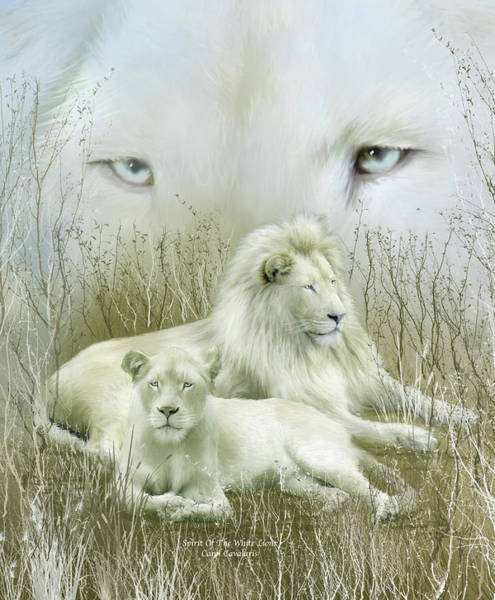 Male Mixed Media - Spirit Of The White Lions by Carol Cavalaris