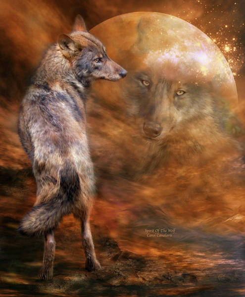 Mixed Media - Spirit Of The Wolf by Carol Cavalaris