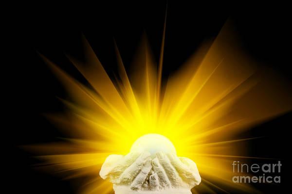 Reborn Wall Art - Photograph - Spiritual Light In Cupped Hands by Simon Bratt Photography LRPS