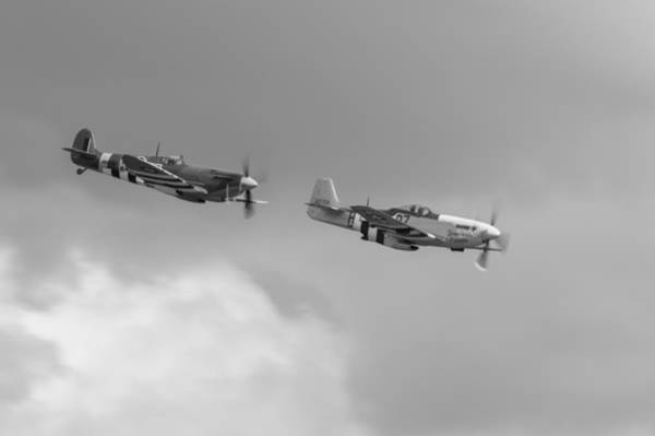 Photograph - Spitfire And Mustang Black And White Version by Gary Eason