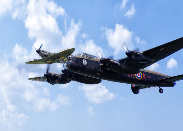 Avro Wall Art - Photograph - Spitfire Escort by Peter Chilelli