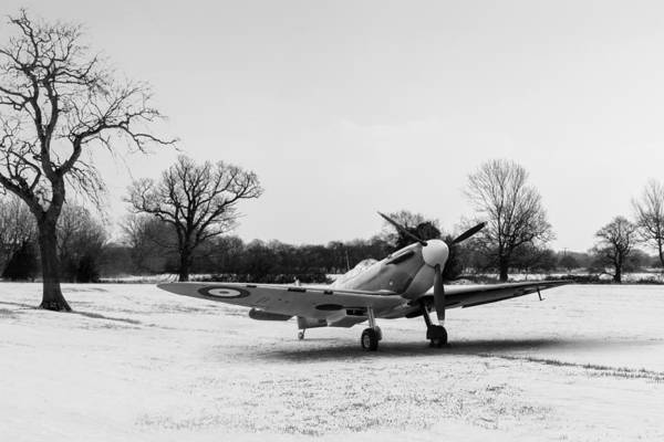 Digital Art - Spitfire In The Snow Black And White Version by Gary Eason