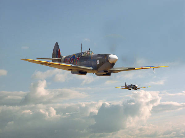 Spitfire Photograph - Spitfire - Two's Company by Pat Speirs