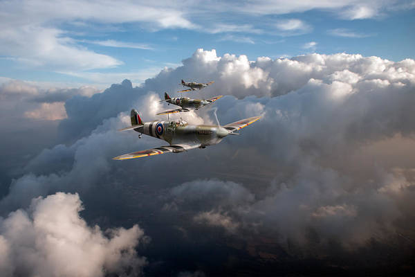 Photograph - Spitfires Among Clouds by Gary Eason