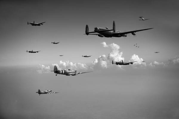 Photograph - Spitfires Escorting Lancasters Black And White Version by Gary Eason