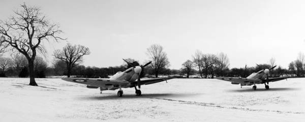Digital Art - Spitfires In The Snow Black And White Version by Gary Eason