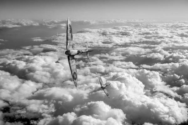 Photograph - Spitfires Turning In Black And White Version by Gary Eason