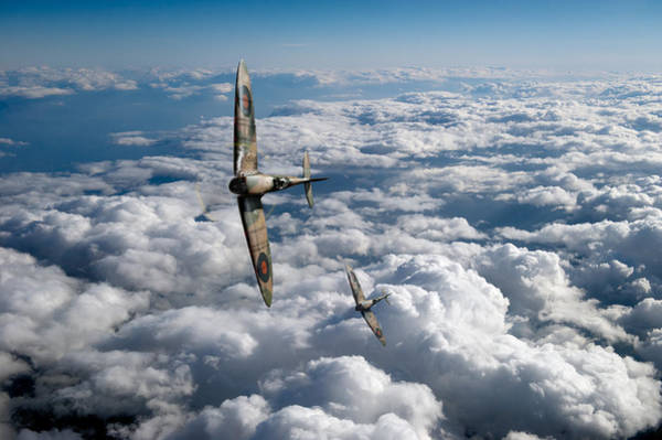 Photograph - Spitfires Turning In by Gary Eason