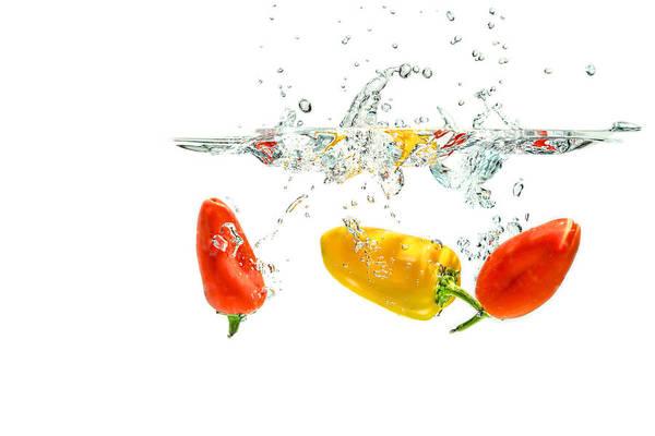 Photograph - Splashing Paprika by Peter Lakomy