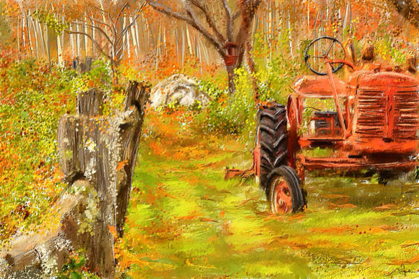 Vintage Tractor Painting - Splendor Of The Past - Red Tractor Art by Lourry Legarde