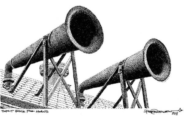 Art Print featuring the drawing Split Rock Fog Horns by Rob Christensen