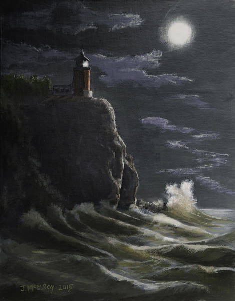 Lake Superior Painting - Split Rock Lighthouse by Jerry McElroy