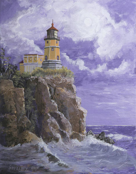 Lake Superior Painting - Split Rock Magic by Jerry McElroy