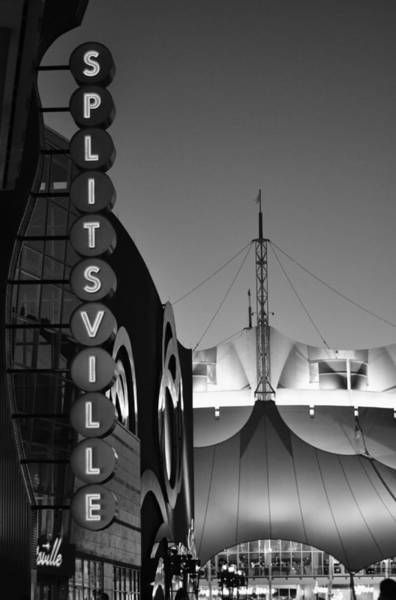 Vintage Neon Sign Photograph - splitsville neon BW by Laura Fasulo