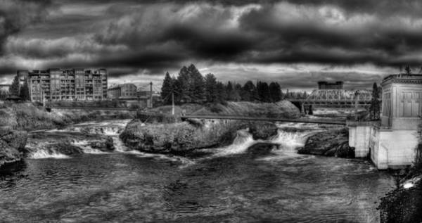 Photograph - Spokane Falls In Black And White by Lee Santa