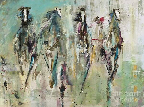 Herd Of Horses Wall Art - Painting - Spooked by Frances Marino