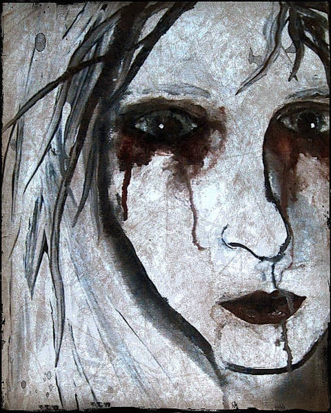 White Zombie Painting - Spooky Gothic Zombie Portrait Painting Fine Art Print by Laura Carter