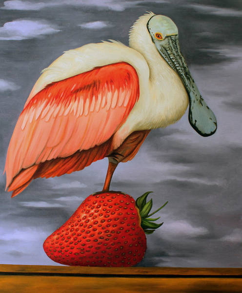 Wall Art - Painting - Spoonbill On A Strawberry by Leah Saulnier The Painting Maniac