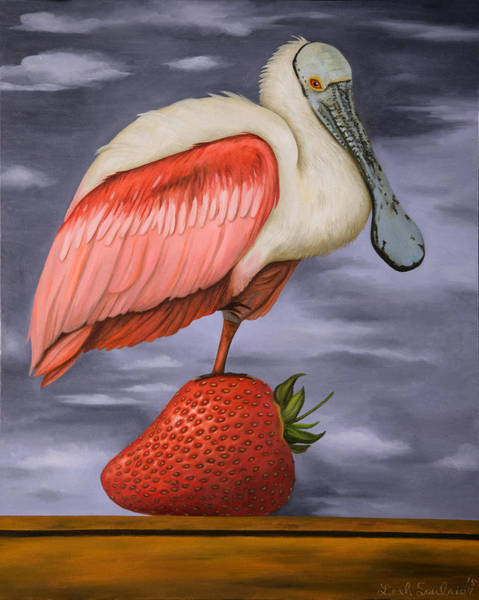 Wall Art - Painting - Spoonbill On A Strawberry Pro Photo by Leah Saulnier The Painting Maniac