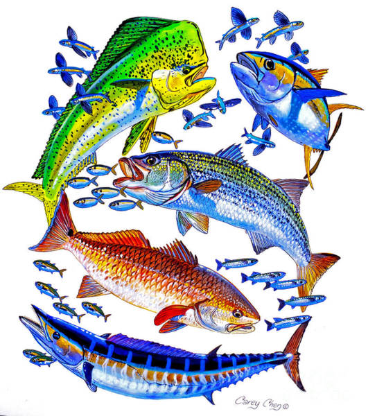 Wall Art - Painting - Sportfish Collage by Carey Chen