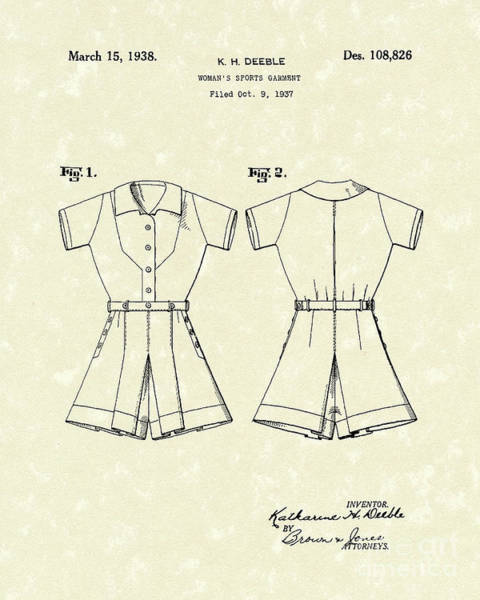 Drawing - Sports Garment 1938 Patent Art by Prior Art Design