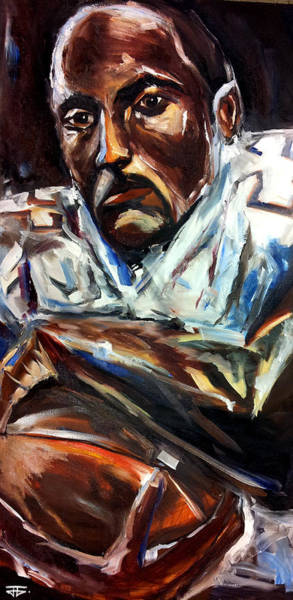 Painting - Sports Portrait Football Grip by John Jr Gholson