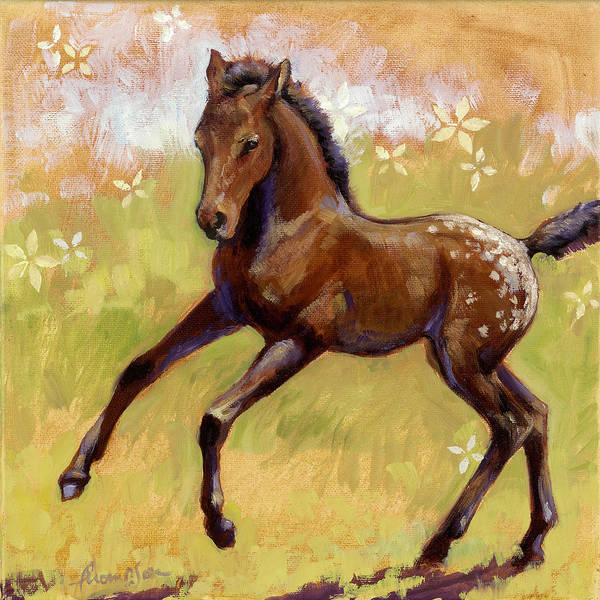 Foal Wall Art - Painting - Spots And Flowers by Tracie Thompson