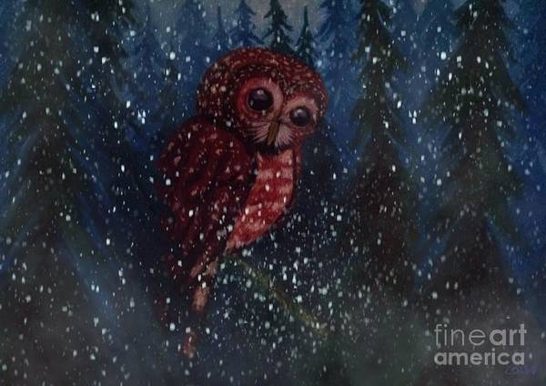 Snow Owl Painting - Spotted Owl In The Falling Snow by Nick Gustafson