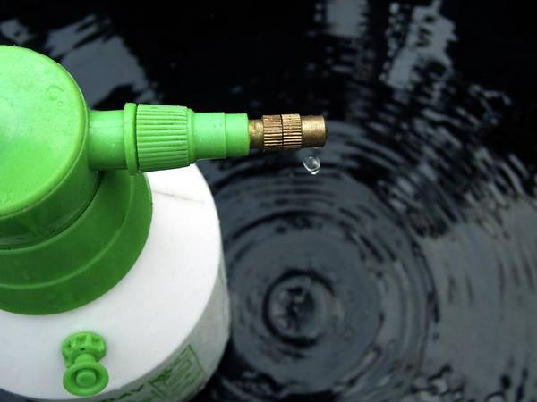 Bottle Green Photograph - Sprayer With Droplet Of Water by Ian Gowland/science Photo Library