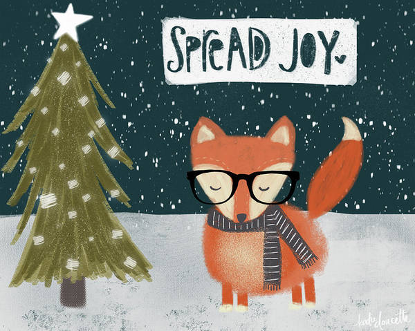Wall Art - Painting - Spread Joy Hipster Fox by Katie Doucette