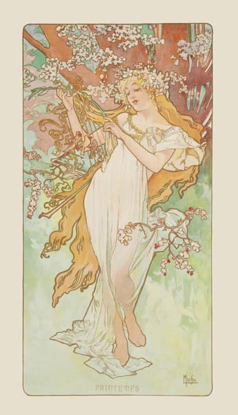 Alphonse Mucha Painting - Spring by Alphonse Mucha