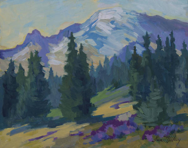 Pine Forest Painting - Spring At Mount Rainier by Diane McClary