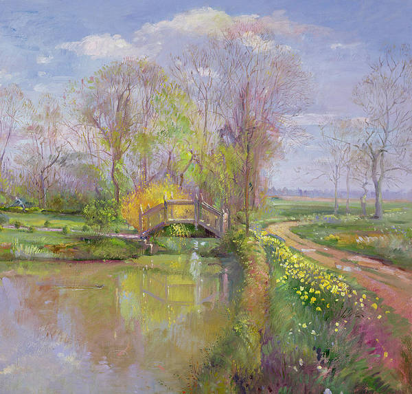 River Bank Painting - Spring Bridge by Timothy  Easton