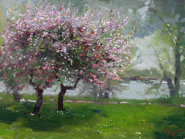 Blooming Wall Art - Painting - Spring By The River by Ylli Haruni